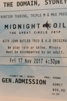 2 x Midnight Oil - The Great Circle, 17th Nov, The Domain, Sydney