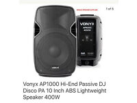 Vonyx AP1000 Hi-End Passive DJ Disco PA 10 Inch ABS Lightweight Speaker 400W