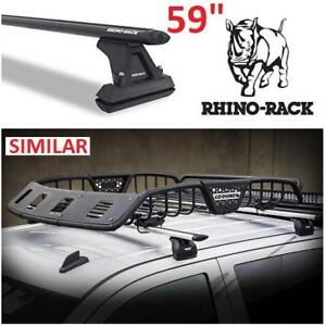 "NEW RHINO RACK MOUNT /W AERO BAR Y03-330B 200298211 59"" BLACK Cap Topper Fixed ROOF RACK"