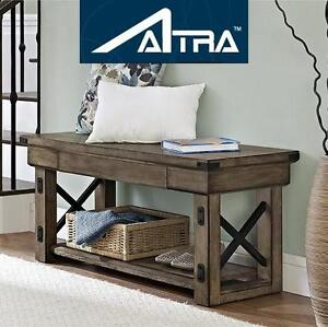 NEW ALTRA ENTRYWAY BENCH WILDWOOD, WOOD VENEER, RUSTIC GRAY, 102108051