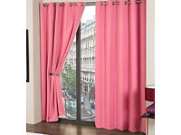 Pink supersoft thermal blackout curtains with eyelets (160wide x 180drop)