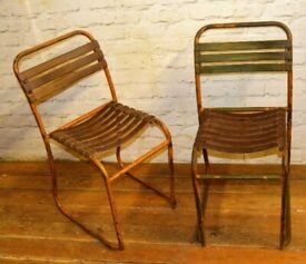 Pair of vintage stacking chairs antique industrial retro slatted garden tubular metal kitchen dining