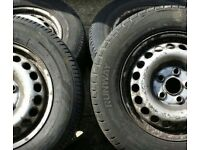 Original vw T5 steel wheels with tyres x4