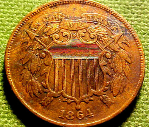1864 Two Cent Piece 2c ~ HIGHER GRADE 1ST YEAR COIN w/ SOLID DETAILS  ~ 90YLJ