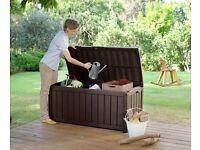 NEW KETER GLENWOOD BENCH/DECKING BOX (brown)