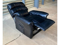 New/Faulty Warwick Genuine Leather Recliner Chair - Black.