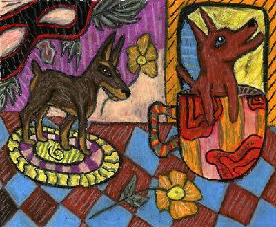 Miniature Pinscher Coffee Break Min Pin Dog Vintage Style Art Print 4 x 6 Signed Miniature Pinscher Art