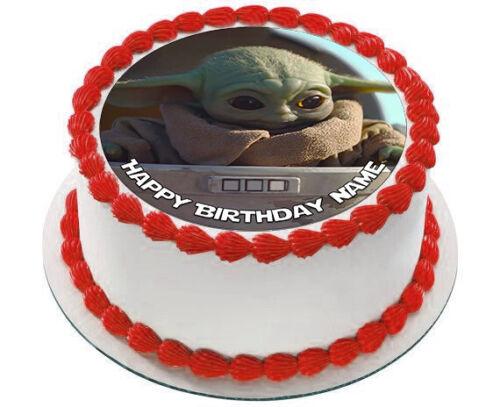 "EDIBLE Star Wars Baby Yoda Child Mandalorian Cake Topper Wafer Paper 7.5"" uncut"
