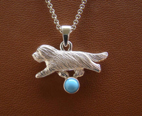 Small Sterling Silver Bearded Collie Moving Study Pendant With Turquoise Accent