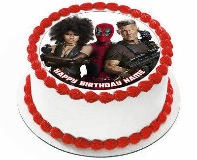 EDIBLE Deadpool 2 Birthday Party Cake Topper Wafer Paper 7.5