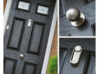 Black Glazed Cotswold Front Door with Ingot knocker, brand new, still in packaging, 860 x 2080.