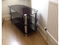 Good Quality Heavy Corner Black Glass Television Table with 3 shelves for accessories Can Deliver