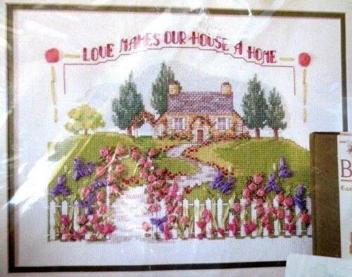 BUCILLA cross stitch ribbon embroidery kit -love makes house a home SALE