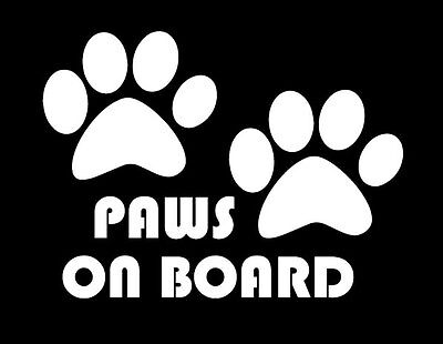 Paws on board, dog, puppy, foot,  sticker vinyl decal, car window, doors, laptop