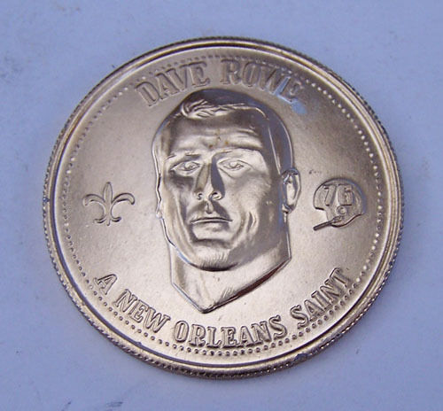 1976 NEW ORLEANS SAINT Dave Rowe Football Pro Players Mardi Gras Doubloon
