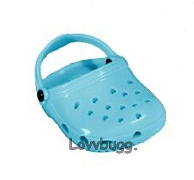 "Lovvbugg Aqua Clogs for 18"" American Girl or Boy or Bitty Baby Doll Shoes"
