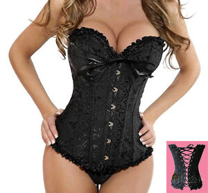 SEXY-black-boned-Lace-up-pure-Corset-G-string-SIZE-S-M-L-XL-2XL-3XL-4XL-5XL-6XL
