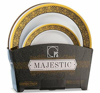 32 Piece White, Gold and Black Plastic Plates Set](Gold And White Paper Plates)