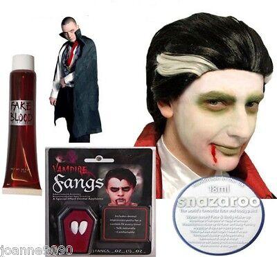 NUEVO Vampiro De Halloween Drácula Disfraz sangre Fangs Capa Peluca PINTURA LOTE (Halloween Disfraz De Vampiro)