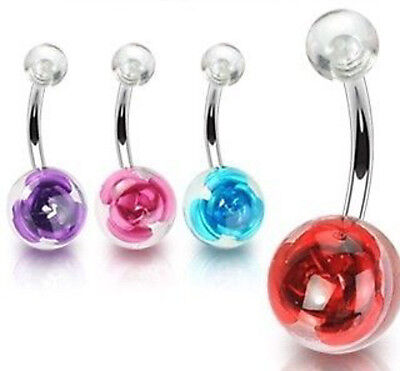B#225 - 4pcs Embedded Rose Belly Rings Navel naval
