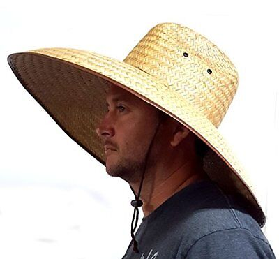 Double Weaved Hard Shell Shade Hat Large Fit Wide Brim Straw Hat Double Brim Hat
