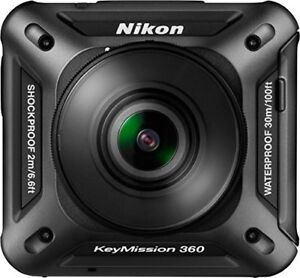 NIKON KEYMISSION 360 4K, HD Action Camera, Black + Selfie Stick