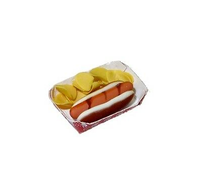 Dollhouse Handcrafted Hot Dog and Chips in a  Basket 1:12 Doll House Miniatures