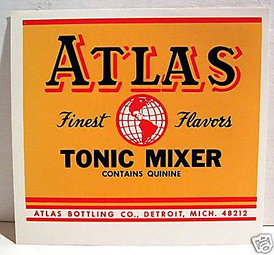 Atlas Bottling Tonic Mixer Soda Label Detroit Michigan