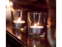 "Set of 2 New 3"" Plain Clear Thick Glass Holders For Votive & Tea Light Candles,Terrariums etc..."