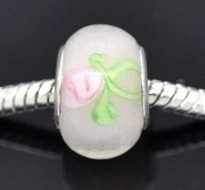 Rosebud Charms 2 - Pink Rosebud on White Lampwork Glass Large 4.8mm Hole European Charm Beads 2pc