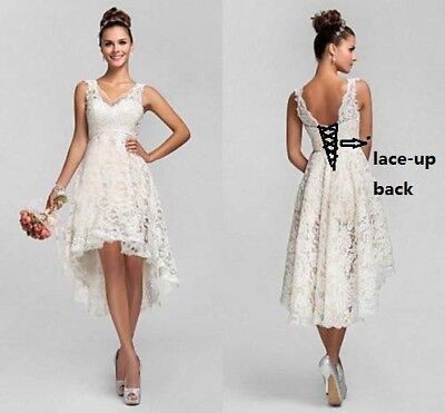 Hi Lo Lace Short Wedding Dresses Bridal Gown Us Stock Size6 8 10 12 14 16 18 20