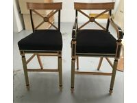 Clive Christian Luxury Wooden Bar Stools With Back Rest - Kitchen/ Bar/ Hotel