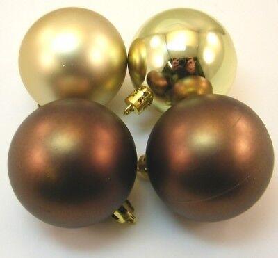4 Bolas de Navidad 6cm Color Braun Oro Mate Brillo Plástico para...