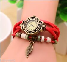 VINTAGE RETRO BEADED BRACELET LEATHER WOMEN WRIST WATCH - LEAF RED