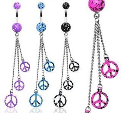 B#219 - 4pcs Peace Splatter Belly Rings Navel naval