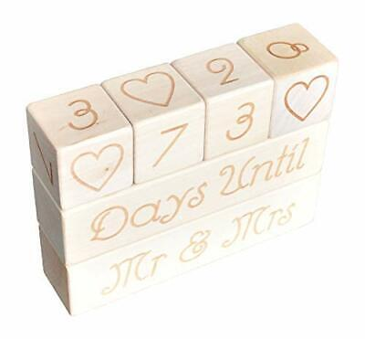 Wedding Countdown Wooden Blocks Calendar. Bride to Be or Fiance. Perfect Shower