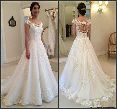 New White/Ivory Lace Wedding Dress Bridal Gown Custom Size 6-8-10-12-14 16+