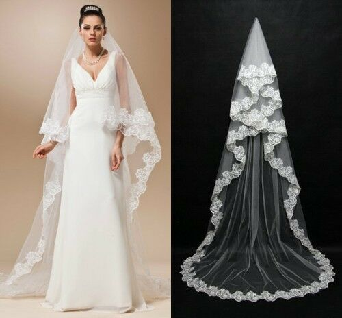 USA Cathedral Length Lace Edge Bride Wedding Bridal Veil Long Trails White/Ivory