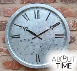 Outdoor Steel Wall Clock Thermometer Large Galvanized Yard Garden Decoration