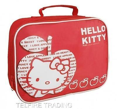 HELLO KITTY APPLE INSULATED LUNCH BAG IDEAL SCHOOL GIRLS CHILDS KIDS PICNIC RED