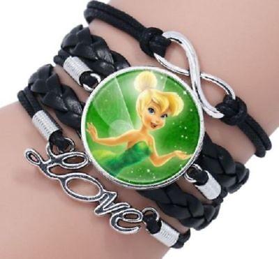 Tinker Bell Adult (Tinker Bell Glass Charm Bracelet  Disney Charactor Adult Kids Us Seller)