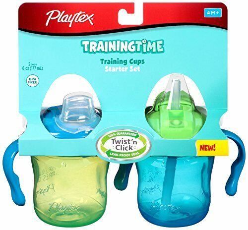 Playtex Sipsters Straw & Spout Trainer, 2 Sippy Cups, 6 oz - Blue/Green