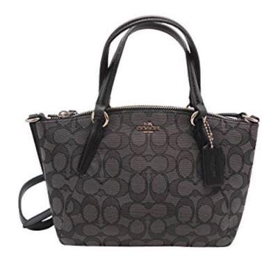 New Coach  F27580  Signature Black Smoke Mini Kelsey Satchel Bag Handbag