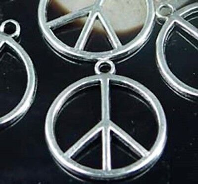 6 Antique Silver Pewter Peace Sign Filigree Charm Pendant Beads 24mm - Pewter Peace Sign Charms