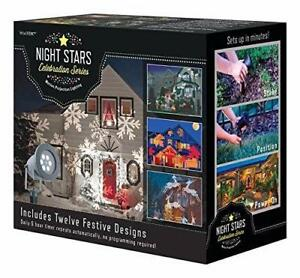 New, Holiday Charms LED lights 12 Interchangeable Slides - Night Stars (brown box)