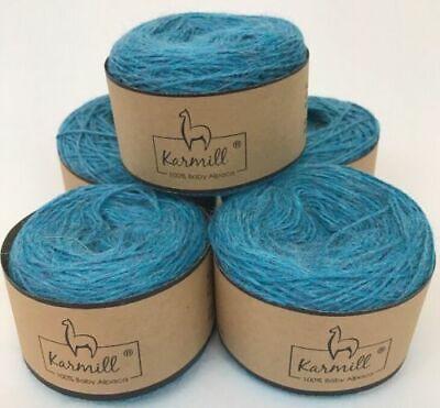 Alpaca Wool Skeins 100% Baby Alpaca Yarn Lot of 5 Turquoise Color C705