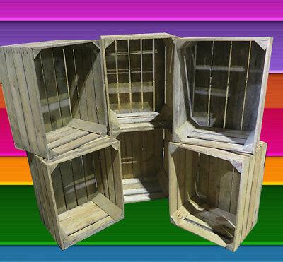 VINTAGE APPLE CRATES [ Qty 1, 2, 3, 4, 5, 6, 8, 9, 10, 12, 15 ] Wood Storage Box