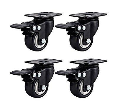 Swivel Caster Wheels Rubber Base Top Plate Bearing Total Lock Brake Pack