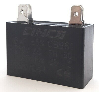 Motor Start Motor Run Film Capacitor 6uF 250VAC 50/60Hz Cinco (1 pc)
