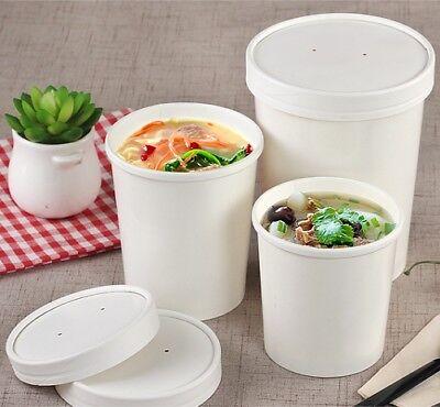 Disposable Soup Ice Cream Container Round Deli Food Lids Heavy Duty Bowl Paper De Li Container